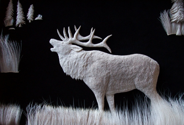 Elk :: Caribou Hair Art