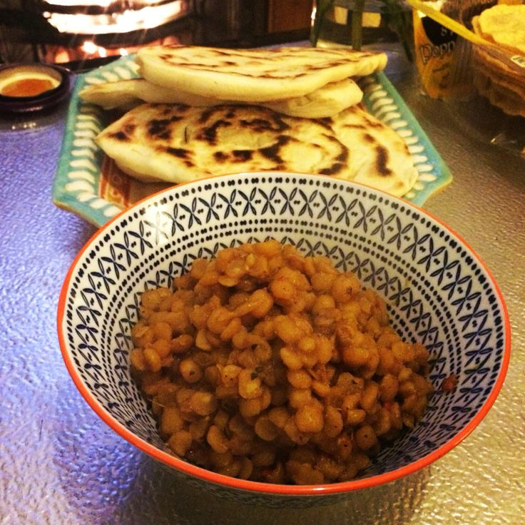 Vegan split pea dahl and flat breads.
