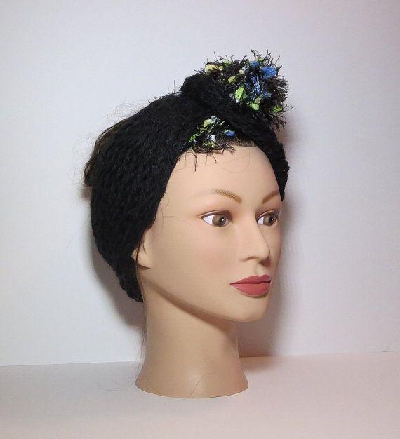 Black & Floral Knit Badu Hair Wrap Head Scarf by TiStephani, $22.00