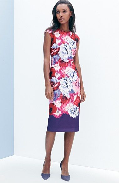 Vince Camuto Floral Midi Sheath Dress (Regular & Petite) available at #Nordstrom