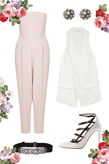 What To Wear To ANY Outdoor Wedding #refinery29  http://www.refinery29.com/outdoor-wedding-outfits#slide1  Rooftop Receptions For these swanky affairs, let your outfit step outside the traditional full-length-dress module. A strapless jumpsuit and tailored vest will look mighty fine next to the strategically placed flower wall and the rather unique ice sculpture adjacent to the open bar.