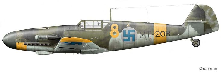 Messerschmitt Bf 109 G-2, flown by Vääpeli Erkki Alkio 3./HLeLv 28, Utti/Finland, July 26 1944. Artwork of Claes Sundin.