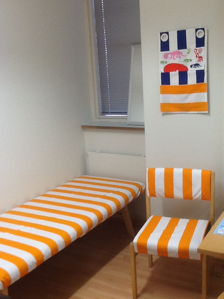 Room of the school nurse. Textile covers for chair and sofa. Fabric from Eurokangas.