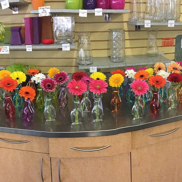 #Cute and #simple little #vase #arrangements with colourful vases and #bright #gerberas!