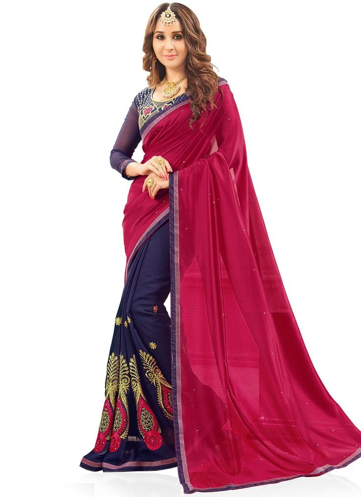 Fab Navy Blue and Red Patch Border Work Fancy Fabric Designer Half N Half Saree