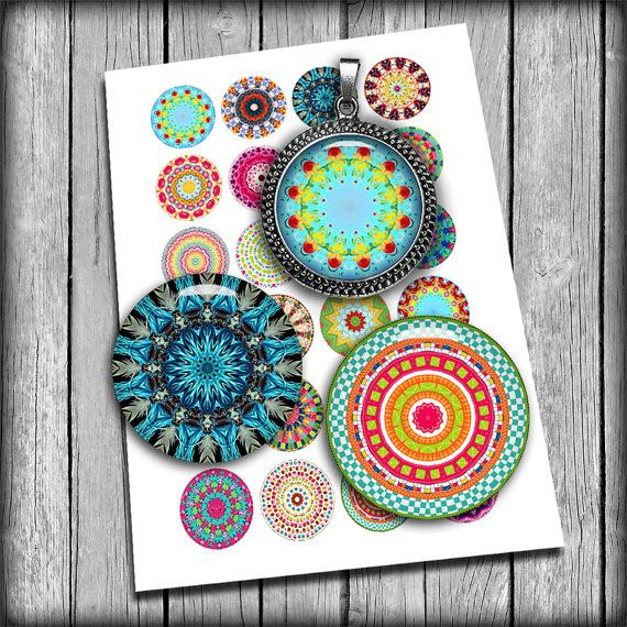 "Kaleidoscope Designs - Digital Collage Sheet 1"", 25mm, 1.5"" Mandala Printable circle Images for Pendants - Instant Download"
