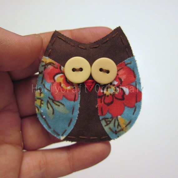 applique owl brooch- i want to make this and put it on a towel