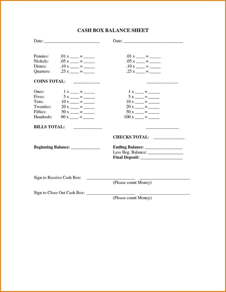 free template for cash register balance sheet and cashier