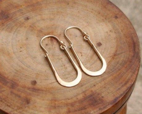 Artisan Maria Hammered 14kt Gold Filled Hoops Earrings U Shape