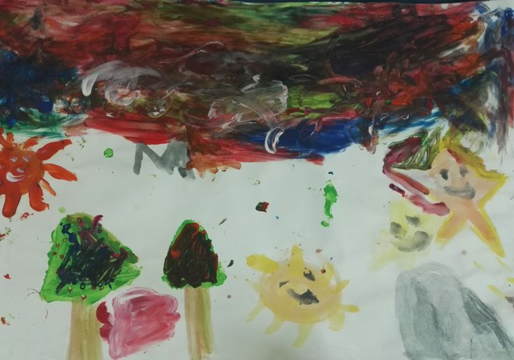 Watercolor drawing. Children were asked to choose X-mas related symbols on their own, and explain their meaning.