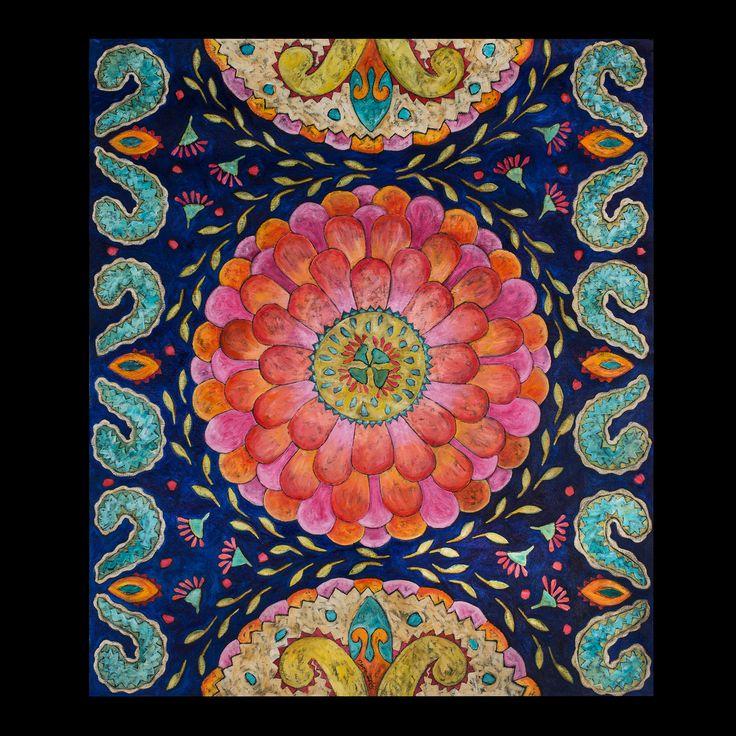 """Zinnia Flower and Paisley"" floorcloth"