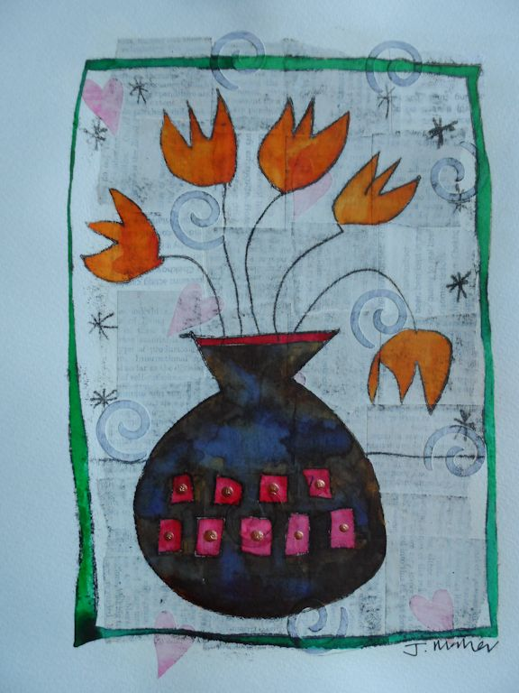 Orange flowers, brown vase. Monoprint over collage and gesso with painting and embellishments