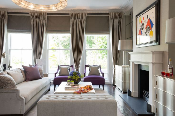 This cool gray with color accents appears to be a trendsetter, I have seen several examples. #realestate #decor #interiordesign
