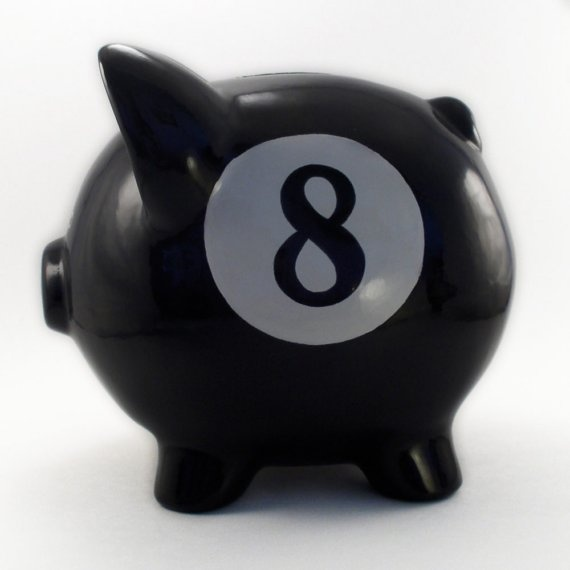 Personalized Piggy Bank  8 Ball  with hole or NO hole by ThePigPen, $45.50