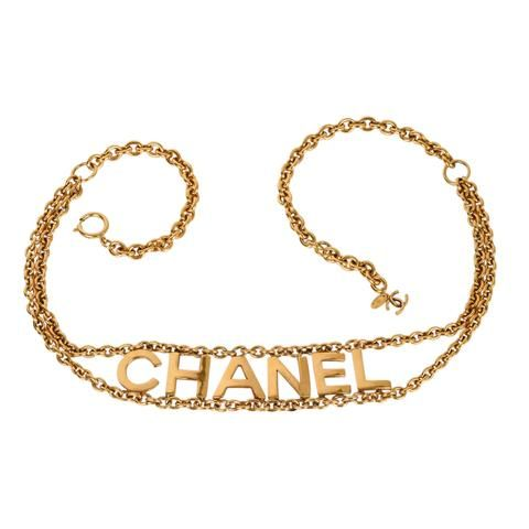 Chanel Belt Classic Gold Hyperlink Chain Chanel Title Spelled Out