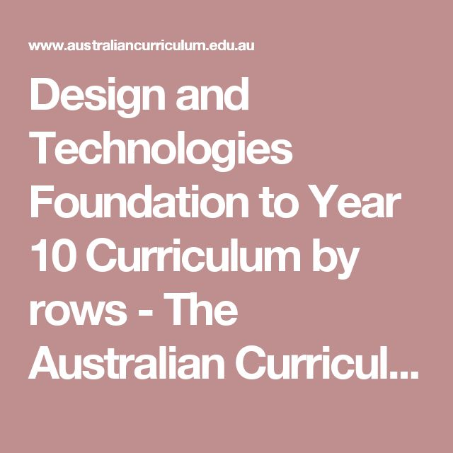 Design and Technologies Foundation to Year 10 Curriculum by rows - The Australian Curriculum v8.3