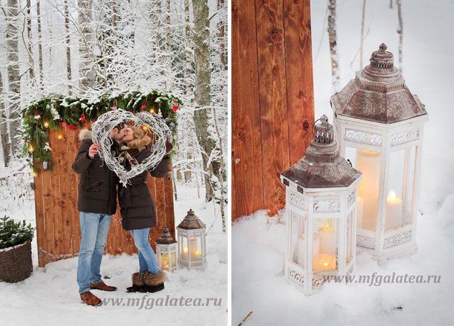 зимняя лав стори, фотосессия в зимнем лесу, студия декора