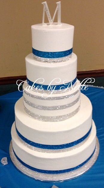 Blue, Silver, U0026 White Wedding Cake. Cakes By Nette Bakery. St.