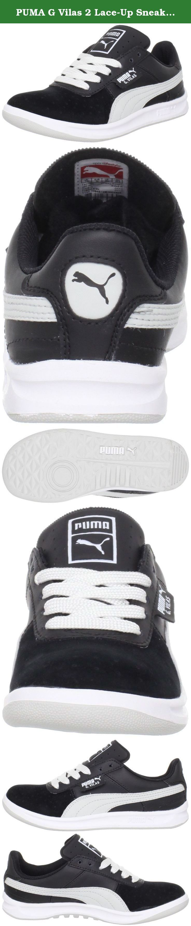 PUMA G Vilas 2 Lace-Up Sneaker (Little Kid/Big Kid),Black/Gray Violet/White,4.5 M US Big Kid. PUMA Youth G Vilas 2 Jr Features shoes from the 1982 PUMA® archive. A re-issue worn by the legendary Guillermo Vilas throughout his phenomenal tennis career. Simple and clean leather upper. Lightly padded collar. Detailed, perforated pattern on toe box. Fabric lining with cushioned footbed for added comfort. A minimized low profile, sculpted PU midsole. Rubber outsole. Measurements: Weight: 8 oz...