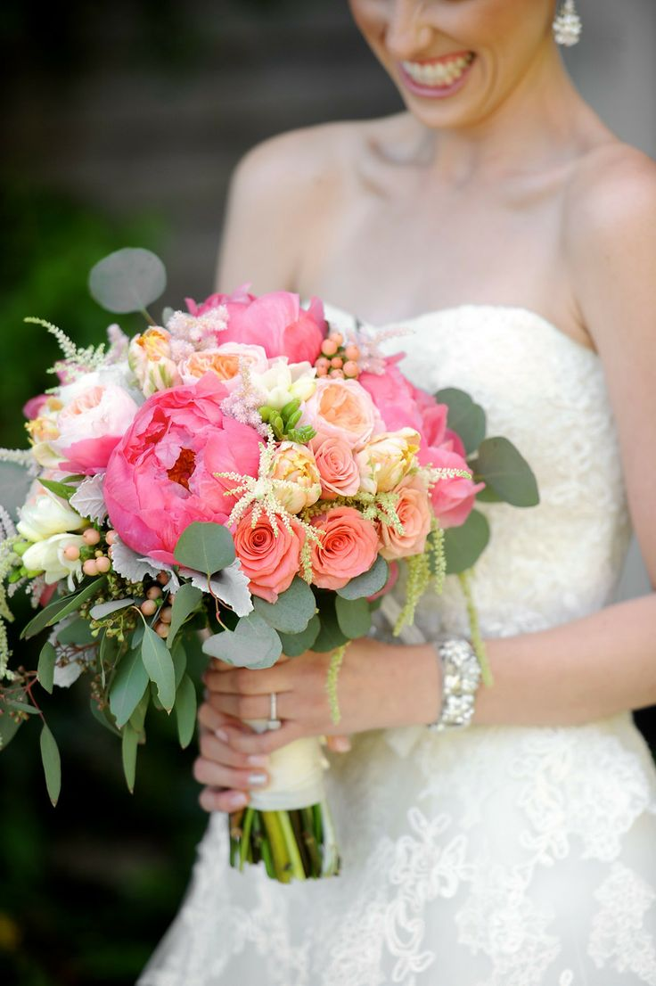 Garden Rose And Peony coral peony bridal bouquet. coral, peach, ivory, green. peonies