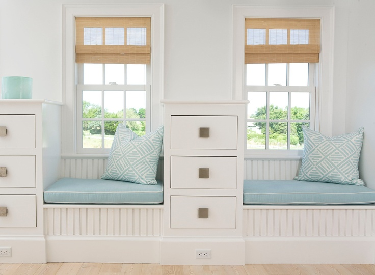bedrooms white beadboard built ins window seats blue cushions white piping blue pillows matchstick shades matchstick shads white beadboard - Matchstick Tile Bedroom Decor