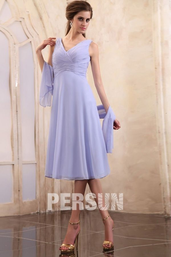 Aspatria Simple Chiffon Tea Length Lavender Mother of the Bride Gown