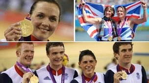 Victoria Pendleton, Katherine Grainger and Anna Watkins, Ed Clancy, Geraint Thomas, Steven Burke and Peter Kennaugh: Gold!