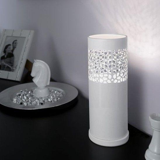 Επιτραπέζιο φωτιστικό - πορτατίφ - λαμπατέρ μονόφωτο, σε μοντέρνο στυλ, κατασκευασμένο από ατσάλι σε λευκό χρώμα με διάτριτα σχέδια. Carmelia από την Eglo. ----------------------------------- Table lamp, in modern style, made of steel in white color with perforated pattern. #modernlighting #modern #livingroom #tablelamp #table #tabledecor #decorideas #decor #pattern #white #tablelight #tabledecorideas