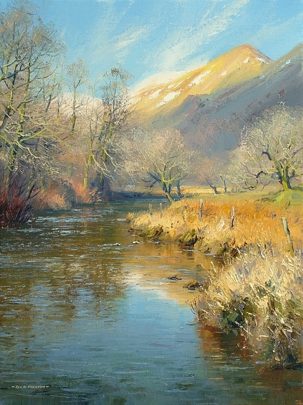 March snow, the River Rothay, near Rydal by Rex Preston