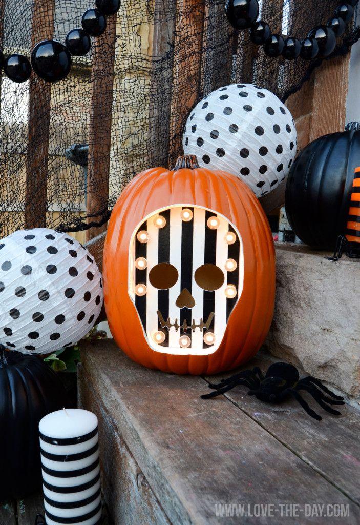 Skeleton Marquee Pumpkin Tutorial for Michaels
