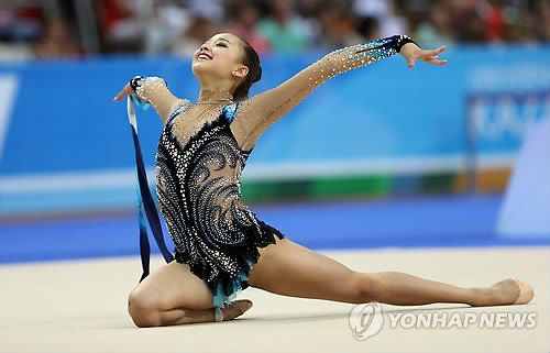 Son Yeon-jae finished a career-high fifth in the individual all-around competition on Friday at the World Rhythmic Gymnastics Championships in Kiev, Ukraine.