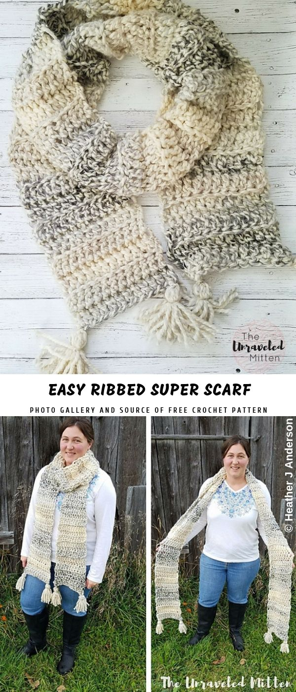 Easy Ribbed Super Crochet Scarf with Free Pattern | Pattern Center ...