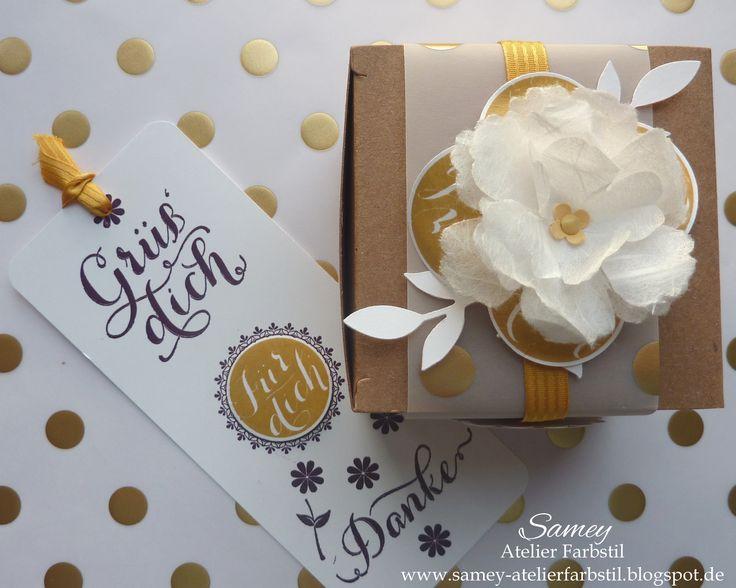 Schachtel aus Kraftkarton, Gastgeschenk zur Hochzeit hübsch verpackt,