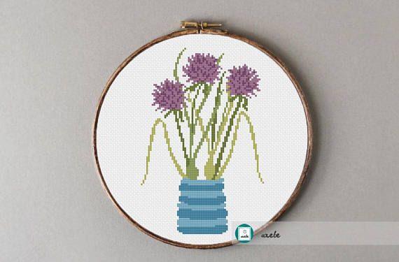 Chive flowers cross stitch pattern modern cross stitch DIY