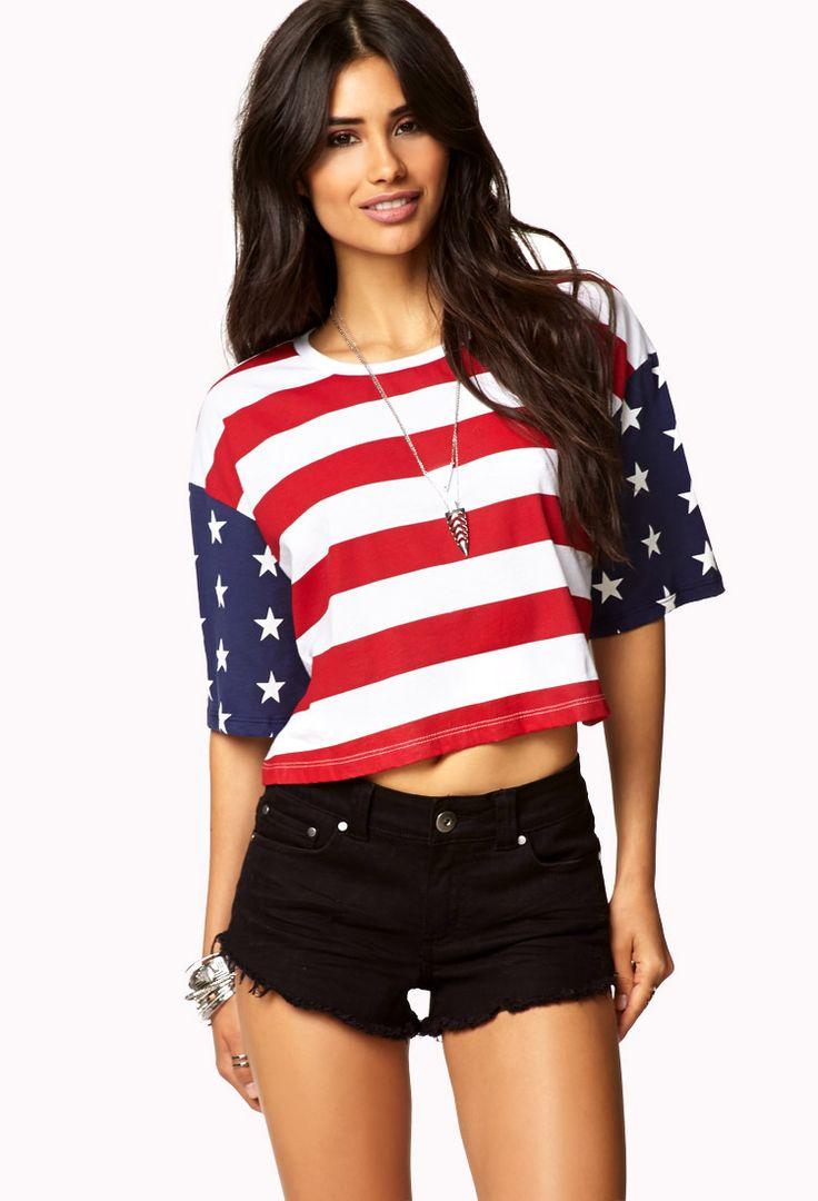 f21d57b8d015f American Flag Crop Top