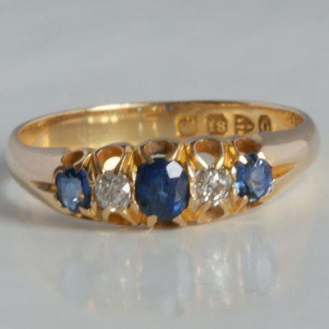 18 karaat goud Victoriaanse ring uit 1897 met van Juwelista op Etsy