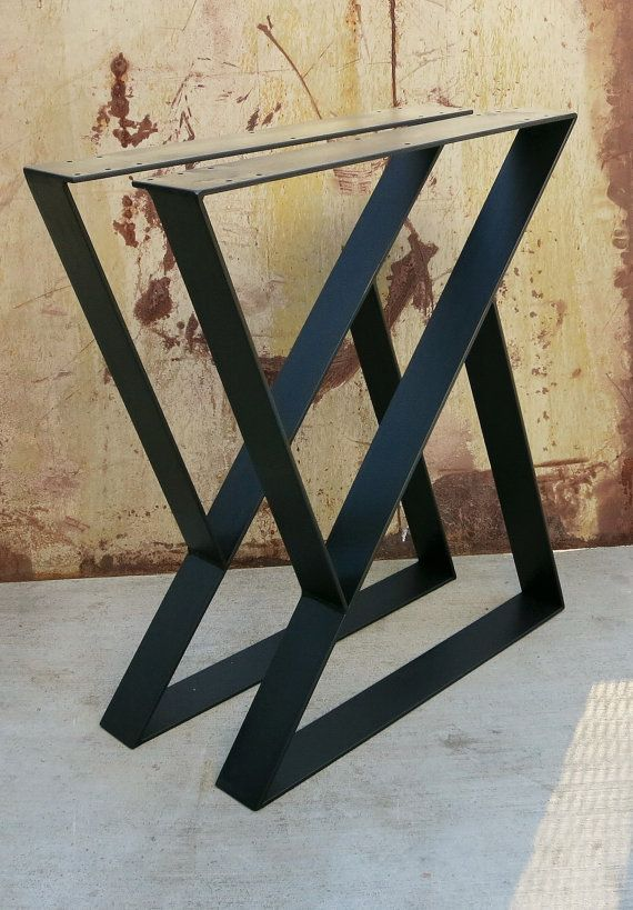 Z Metal Table Legs Set of 2 Top plate by SteelImpression on Etsy