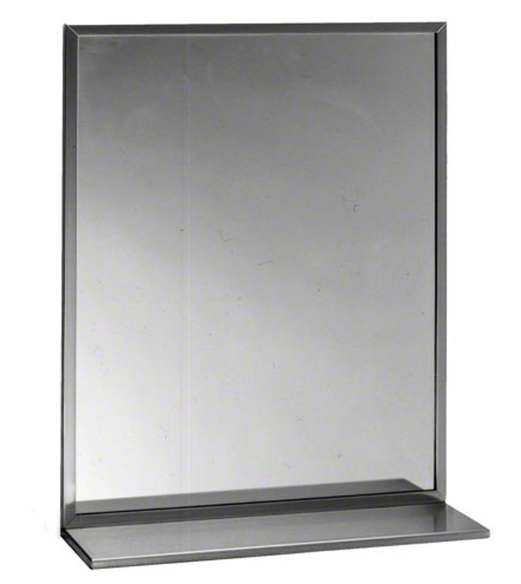 "Bobrick 165 Series 430 Stainless Steel Channel Frame Glass Mirror, Bright Finish, 24"" Width x 48"" Height. Stainless steel 430 type channel frame mirror. Mitered corners. Frame screw permits easy replacement of glass. Measures 24"" width by 36"" height. 15 Years limited warranty."
