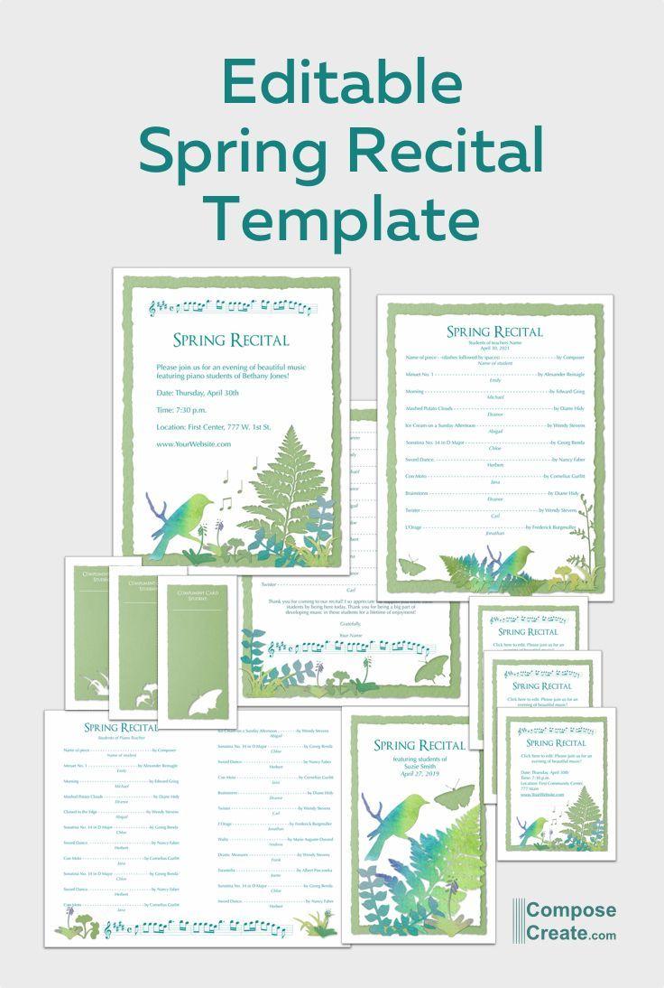2019 Spring Editable Recital Program Package Recital Vivaldi Spring Piano Recital Piano recital program template free