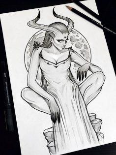 Nachtwächter Gothic Bleistift Kunst Schädel Tattoo Design Raben Grunge Rosen Boho