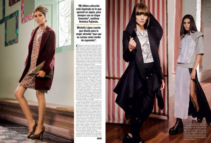 Revista HOLA! PERU 2014  Izquierda: Vestido de seda estampada narumi Abrigo de Alpaca Suri oversize narumi