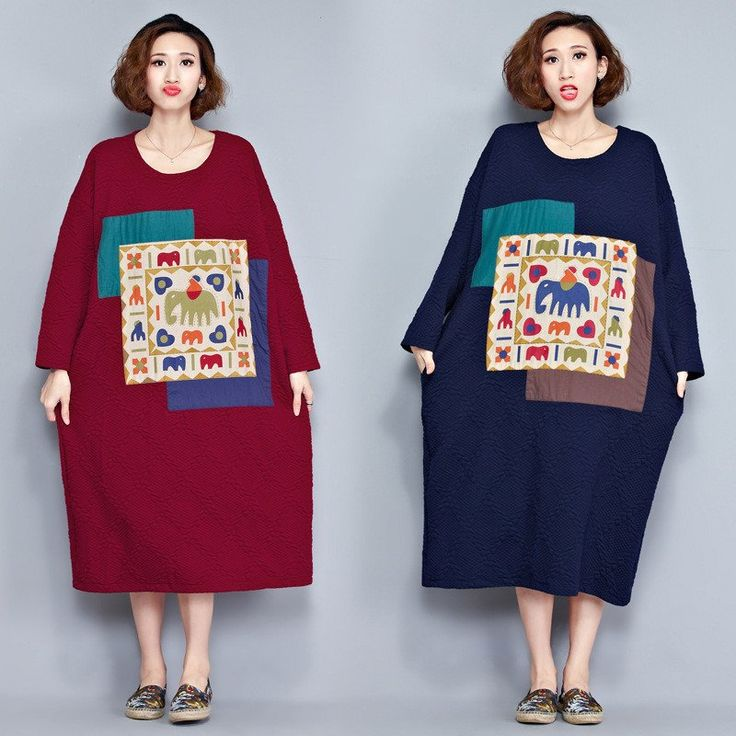Loose Long Patch Cotton Warm Long Dresses Women Clothes D2001A