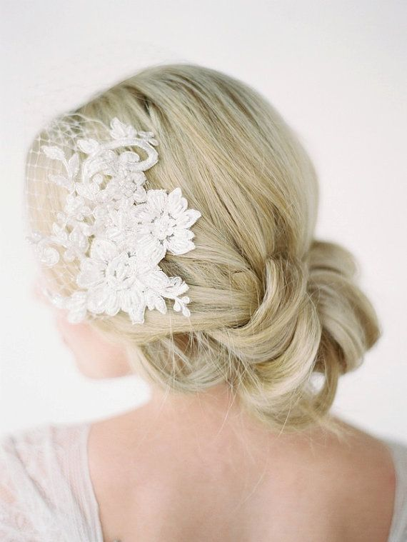 LEILA Birdcage Veil with Lace Combs Lace Birdcage