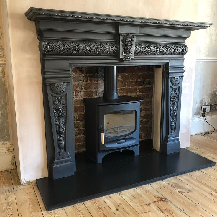 A Beautiful Victorian Cast Iron Surround Wow Com Homedecor Woodburners In 2021 Cast Iron Fireplace Log Burner Living Room Black Fireplace Surround