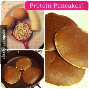"""Protein Pancakes *__* Mischt:  2 Eier mit einer zerdrückten Banane und ein paar Haferflocken  Auf einer niedrigen Stufe in der Pfanne """"backen"""" und TADAAA *__*  Extrem lecker!!  ACHTUNG: Natürlich enthalten Bananen und Haferflocken auch Kohlenhydrate (diese sind jedoch auch sehr wichtig und liefern Energie)"""