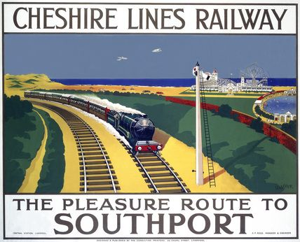 Produced for the Cheshire Lines Railway to promote rail travel to Southport, Lancashire. A holiday express train with Southport beach and a funfair in the background. Artwork by Shaffer.