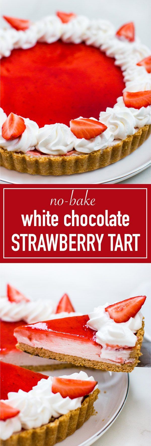 Easy and simple to make white chocolate strawberry tart. 3 layers of of cookie crust, white chocolate ganache mousse, and strawberry jam glaze. Perfect for Valentine's Day!