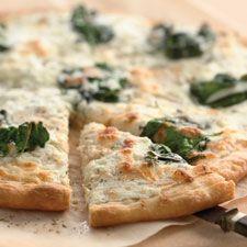 this sounds deliciousSpinach Pizza, Olive Oils, White Pizza Recipe, Spinach Ricotta, King Arthur, Pizza Recipes, Homemade Pizza, Crusts, White Spinach