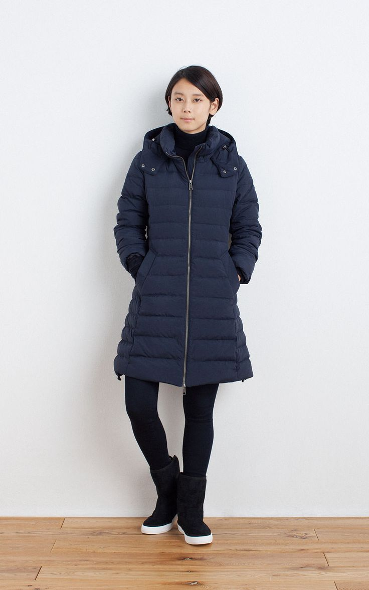 MUJI | FRENCH DOWN COAT | LESS ITCHINESS TURTLE NECK PLAN SWEATER | SUPER STRETCH DENIM LEGGINGS