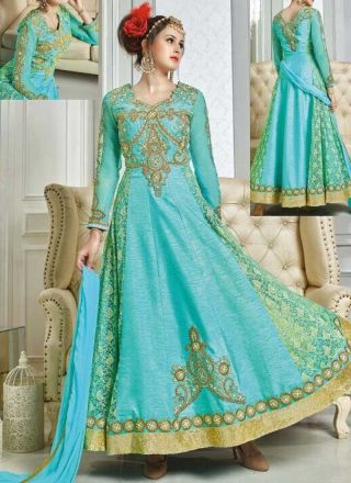 Sky Blue Embroidery Work Silk Net Jacquard Designer Anarkali Long Gown Suit